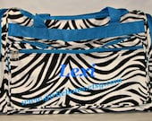 """Personalized 23"""" Duffle Gym Dance Gymnastics Overnight Bag - Black and White Zebra with Blue Trim - MONOGRAMMED FREE - By Girliebows"""