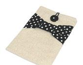 iPad mini case, iPad mini sleeve, 8 inch Custom Tablet case / linen with black polka dot bow