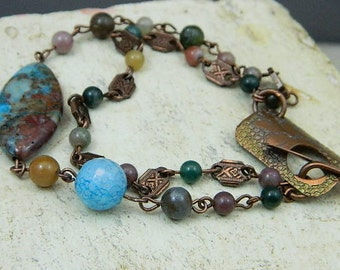 Gemstone Bracelet-Mixed Gemstone Bracelet-Copper Bracelet-Copper And Gemstone Bracelet-Agate Bracelet-My Challenge
