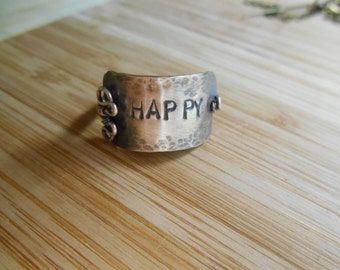 Sterling Happy Band Ring Oxidized Sterling Silver Happy Plaque Wire Wrapped Ring Size 7.5 Wire Wrapped Jewelry Handmade Free USA Shipping