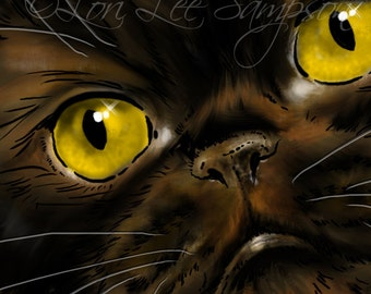 Digital Download Cat Clip Art | Chocolate Shorthair Persian Cat Digital Painting Clipart | Pet Art | Animal Clip Art | Cat Portrait