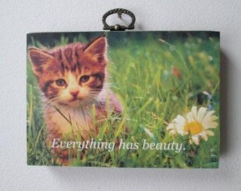 Cute kitten retro wall hanging - cat wall art - kitten and flowers