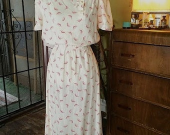 SALE....Vintage 1980's cream and red feather boho dress. size S/M