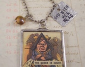 Queen of Hearts Charm Necklace - Alice in Wonderland Necklace - Mixed Media Necklace - Off with Her Head Necklace - Queen Necklace