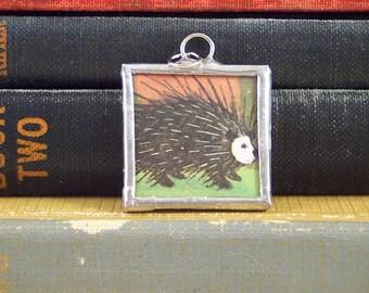 Porcupine Pendant  - Soldered Pendant w/ Book Illustration - Porcupine Charm - Hand Made Charm - Forest Woodland Animal - Porcupine Necklace