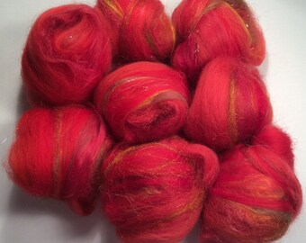 Red Rose - handcarded batt-set 1.8 oz