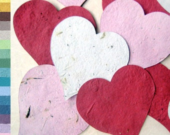 100+ Plantable Paper Hearts Wedding Favors Seed Paper Hearts - Memorials Bridal Showers and more - Your choice color