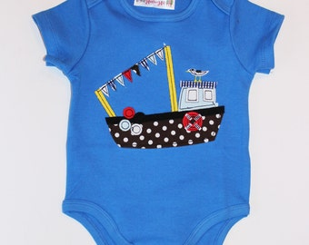 Baby Boy Applique Boat Onesie, Embroidered, size 3 - 24 months