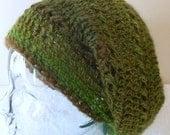 Rainforest Green Wool Boho Slouchy Hat