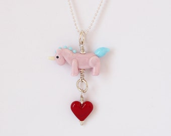 Pink Unicorn and a red Heart Necklace