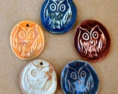 5 Handmade Ceramic Beads - Owl beads made of Stoneware