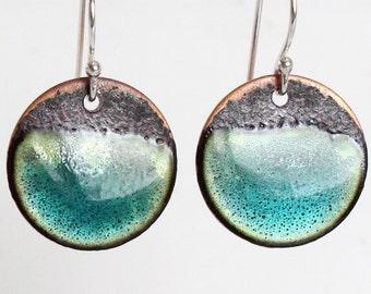 Organic Blue Aqua Earrings - handmade turquoise ocean enamel on copper and sterling earrings - Size Medium