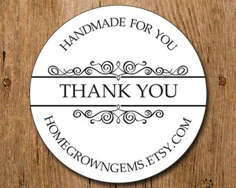 Customized Stickers - Thank You Stickers Ornate Design - Labels - Wedding - Birthday Party - Thank You Stickers