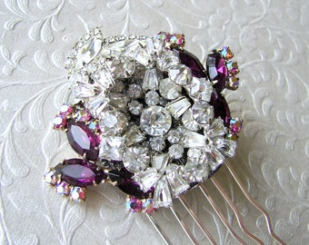 Mulberry Purple Rhinestone Bridal Hair Comb Wedding Hairpiece Formal Headpiece Ballroom Jewelry Pageant Costume Accessory Gatsby Downton