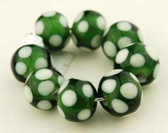 Green and white polka dots -  Handmade Lampwork Glass Bead Set