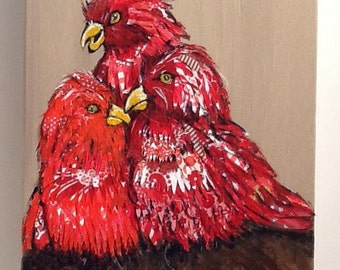 Red Fairy Lories Birds Original Collage Painting