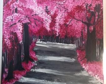 Spring Flowering Trees In Glen Original Oil Painting