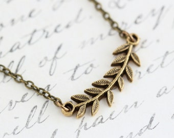 Gold Branch Necklace, Woodland Jewelry, Gold Leaf Pendant, Rustic Necklace, Woodland Jewelry, Leaf Necklace, Vintage Style Necklace