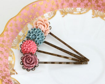 Pink and Blue Bobby Pins, Floral, Bridal Accessory, Hair Pins, Vintage Wedding, Wedding Hair Accessories, Bridal Hair, Gift For Woman