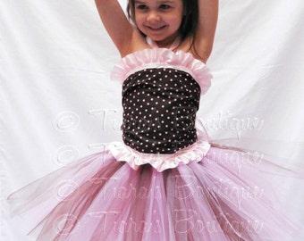 Girls Tutu, Pink and Brown Tutu Set, Custom Sewn Tutu, Birthday Tutu, Tulle Skirt