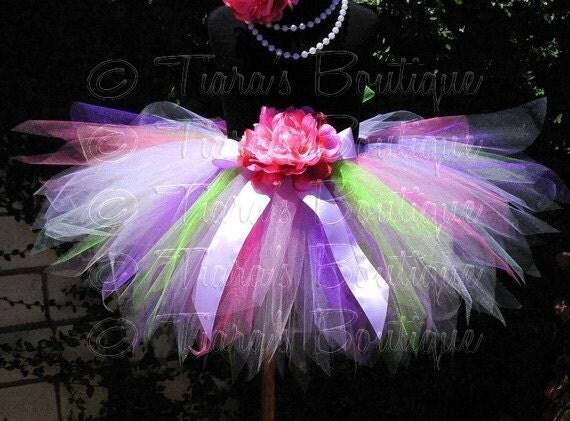 Tutu, Girls Birthday Tutu, Purple Lavender Green Pink Tutu, Chloe, Custom SEWN Pixie Tutu for Babies, Girls, Tweens