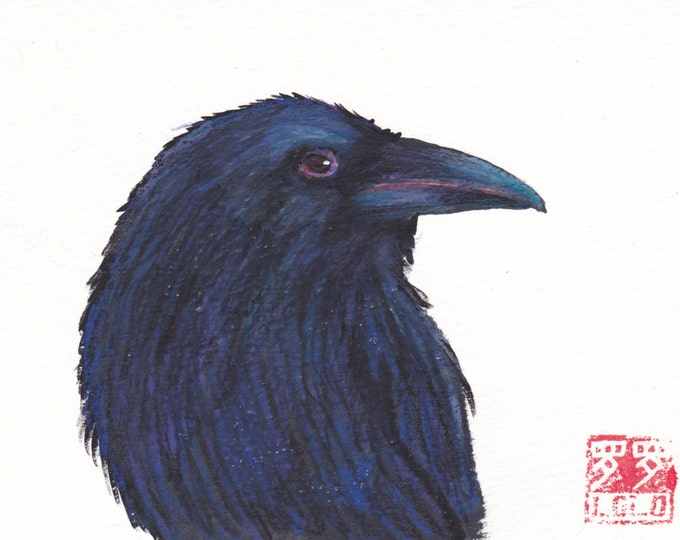 Raven portrait without border blank greeting card