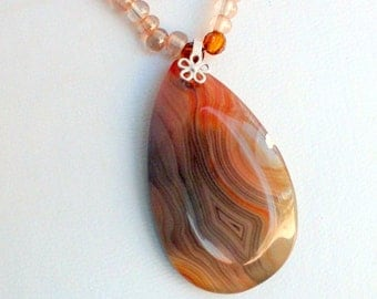 SALE!  20% Off! Honey Colored Madagascar Agate Pendant with Sterling Bail on Cut Crystal and Glass Necklace