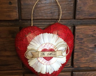 Primitive Valentine Heart Hanger Be Mine Handmade