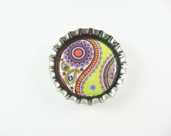 Green Paisley, Bottle Cap Fridge Magnet, Cute Fridge Magnet, Kitchen Decor, Abstract Paisley, Storage, Gift for Her 108