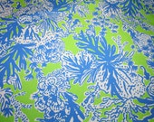 """Lilly Pulitzer ~ """"LIMEADE BIGGEST FAN"""" 100% Cotton Dobby fabric"""