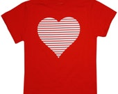 Kids Valentine's Day Retro Striped Heart Bright Red Valentines Day T-shirt