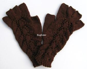 Chocolate Brown Fingerless Gloves, Hand knit Fingerless Gloves with Fingers, Brown hand warmers