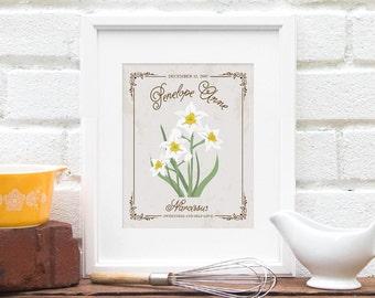DECEMBER Birthday Present, Illustrated Floral Print, Personalized Birth Month Flower, Best Friend Birthday, Flower - Art Print