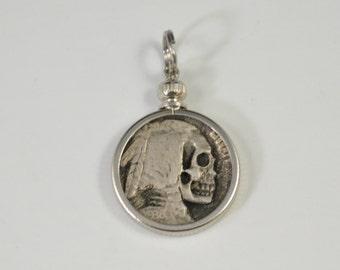 Hobo Nickel Skull Coin Charm Pendant - Indian Head Buffalo Nickel Engraved Coin - skull pendant, skull necklace, memento mori, carved skull