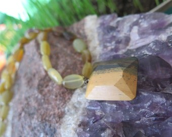 Jade Stone Necklace - Lignum Vitae Wooden Pendant - Funky Wood Jewelry - Hippy Boho Summer - Green Yellow - OOAK Canadian Earthy Natural