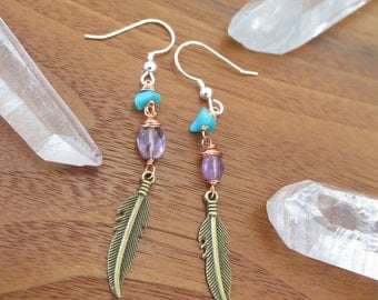 Turquoise and Amethyst Feather Mixed Metal Earrings - Sterling Silver Hooks - With Brass and Copper - Bohemian Free Spirit Womens Jewelry