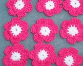 12 white and hot pink crochet flowers --  1958