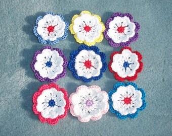 10 handmade cotton thread crochet flowers -- 210