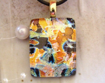 Dichroic Glass Pendant, Fused Glass Jewelry, Copper, Gold, Necklace Included