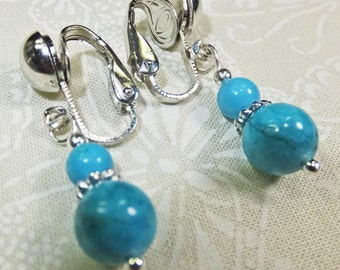 Turquoise beads Dangle Earrings with Silver Tone Clip-on Findings