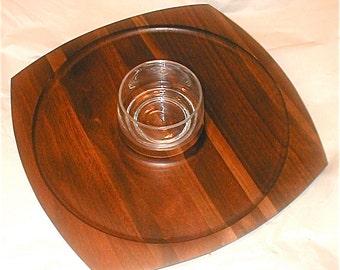 Modern Red Walnut Tray and Condiment Bowl - Vermillion Inc Walnut - Solid Wooden Serving Plate - Scandinavian Modern Design in Entertaining