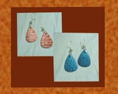 Reversible Textured, Hand-Made Bronze and Glitter Blue Earrings