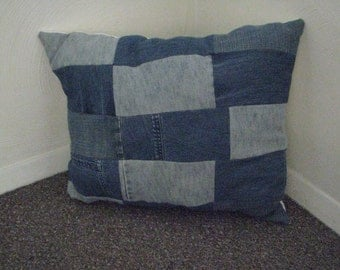 Upcycled Denim Throw Pillow - Jean Patchwork
