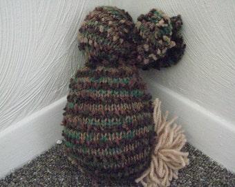 Scrap-Yarn Soft Brown Fuzzy-tailed Bunny