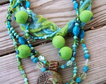 Garden's Goddess Beaded Ceramic and Elements Statement Necklace