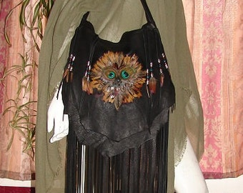"""REaDY to SHIP!!!! Leather Handbag Deerskin Fringed Beaded Purse """"FEATHERS TOGETHER"""" Flap Over Hobo Bag Fringe Handmade by Debbie Leather"""