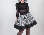 Stripes Skater Skirt, Gothic, Beetlejuice, Size 6 - 28, other sizes on request. .