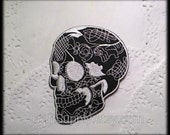 Skull Iron on Patch, Silver tone Thread Embroisered Applique Patch iron on can sew,(3 x 3.8 inch),sewing supplies, Craft Supply
