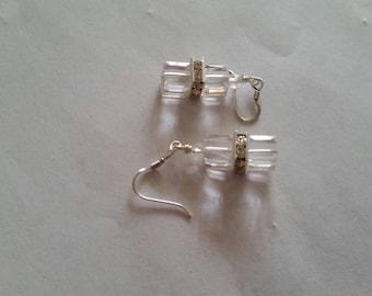Gorgeous, Bridal Swarovski Cube Crystal, Earrings.