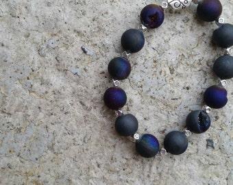 Purple Peacock Druzy Sterling Silver Modern, Beaded Bracelet